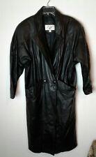 Women's John Weitz 100% Leather Black Lined Trench Coat Med Work R3 Soft