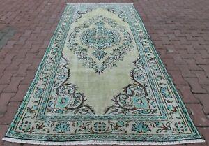 Traditional Handwoven Oushak Area Rug Turkish Vintage Oriental Wool Carpet 5x9ft