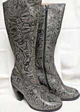 Pre Owned RARE John Fluevog Printed Gray Knee Boot Sz. 7