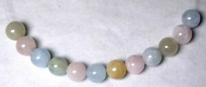 12 Gorgeous 5.5mm Natural Multi-Color MORGANITE Round Gemstone Beads