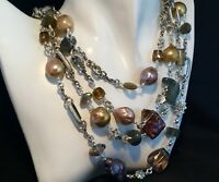 NWT STEPHEN DWECK STERLING SILVER 4 STRAND STONE & PEARL NECKLACE $1600 SOLD OUT