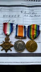 WW1 1914-15 Medal Trio PTE Thomas H Horner Northumberland Fusiliers Medals