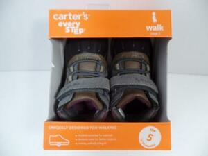 Carter's Every Step Jonah Gray/Dk Brown DUCK Shoes Stage 3 Walk, Sz 4, ~12-18M