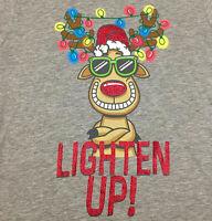 Womens Jrs Sz Large L Graphic Tee Shirt Christmas Lighten Up Reindeer