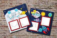 Astronaut, Rocket Ship, Moon, 2 PRINTED Premade Scrapbook Pages BLJgraves 37