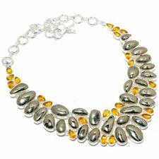 "Russian Pyrite, Citrine Gemstone Handmade 925 Sterling Silver Necklace 18"""
