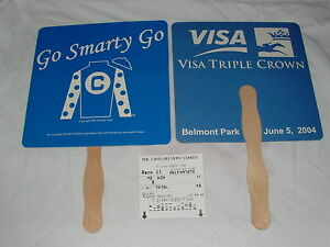SMARTY JONES 2004 BELMONT STAKES JOCKEY SILK FAN $2 WIN TICKET HORSE RACING LOT