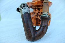 Pfeife, Pipe, Pipa  Antike Ulmer Kloben?? um 1860 Wurzelholz, Sielbermontierung