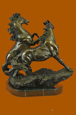 Bronze Sculpture Hand Made by Lost Wax Two Wild Horses Home/Cabin Decor
