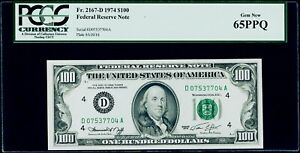$100 1974 Federal Reserve Note Cleveland Fr. 2167-D PCGS Gem New 65 PPQ
