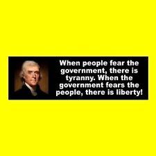 "Thomas Jefferson ""TYRANNY VS. LIBERTY"" window decal BUMPER STICKER anti Hillary"