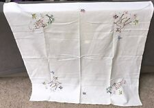 Vintage Hand Embroidered Table Cloth-BEAUTIFUL SPRING FLOWERS, FAWN, BLUE BIRD