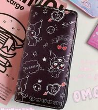 kuromi black lots purse wallet card unisex bag handbag fold zip wallets anime