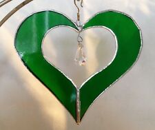 "5"" Stained Glass Heart with Crystal Suncatcher - Made in the USA in NH- CCI"