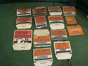 Accumulation of Postwar Lionel box ends, flaps all 3000 series