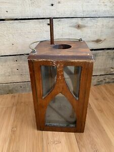 Antique Primitive Wood And Glass Barn Candle Lantern Antique American Lantern