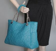 BIG BUDDHA Blue Large Faux Leather Shoulder Shopper Bag Satchel Hobo Quilted