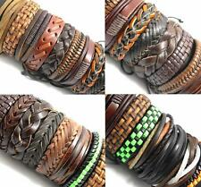 20pcs Mix Genuine Leather Bracelets Men's Wristbands Manmade Wholesale Jewerly
