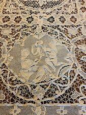 Vintage Antique Figural Lace Tablecloth Ecru 12 Napkins Figures