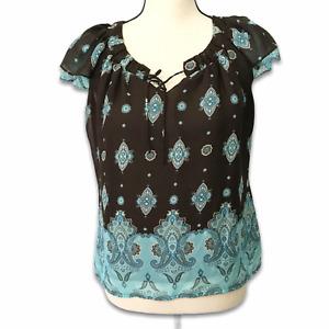 Apt. 9 brown aqua paisley lined ruffle cap sleeve blouse Sz Petite Small