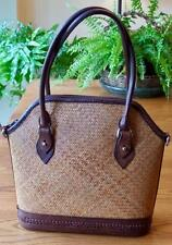 Talbots Woven Straw & Brown Leather Satchel Purse Handbag Great Summer Bag!