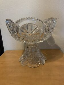 Antique American Brilliant ABCG Cut Glass Fry Chicago Two Piece Punch Bowl WOW