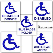 Disabled Sticker 5 Pack-Wheelchair Access-Driver-Blue Badge Holder-Disability