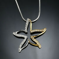 Two Tones Gold gp lab Diamond Large Starfish Fashion Pendant Necklace Party