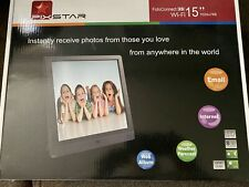 """Pixstar FotoConnect 15"""" Wi-Fi Photo Sharing Screen Weather Email Internet 8gb"""