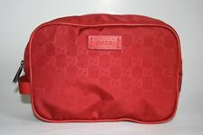 New Gucci GG Red Toiletry Nylon Make-Up Bag Case Pouch Zip Unisex 510338