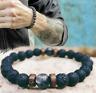 Men Women Natural Stone 8mm Lava Rock Bracelet Elastic Yoga Beads Bracelet