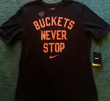NWT Mens Nike L Black/Neon Red BUCKETS NEVER STOP Basketball Dri-Fit Shirt Large