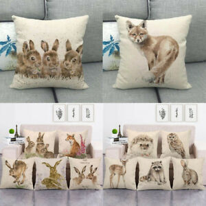 Throw Pillow Covers Adorable Animals Rabbit Hedgehog Couch Decorative Pillowcase