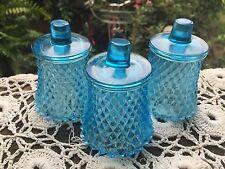 3 Vintage Blue 1970's Era Diamond Point Design Home Interior Votive Cups Homco