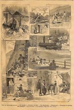 "SUISSE SCHWEIZ "" GRAVURES DIVERSES / MOULIN BRASSERIE MARCHé "" ADP DE ASHER 1880"