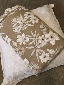 RALPH LAUREN Haluna Bay Floral Tan Cream FULL/ QUEEN DUVET COMFORTER COVER EUC