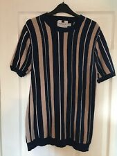 Topman beige & navy blue striped short sleeved mod jumper - Medium