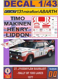 DECAL 1/43 FIAT 131 ABARTH T.MAKINEN 1000 LAKES 1977 (FULL) (06)