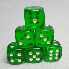 Dice - Koplow's 16mm Glow-in-the-Dark PIPS on TP Green - Play in the dark! 6/Set
