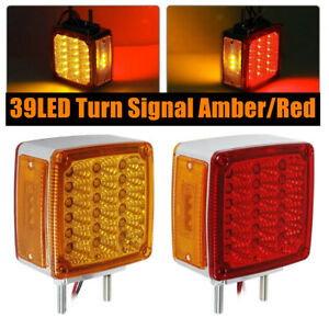 Pair of 39 LED Double Side Turn Signal Amber/Red (R/H) SEMI - TRUCK FENDER LIGHT