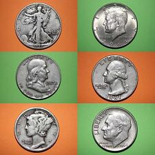 MAKE OFFER $50.00 Face 90% Silver Mixed Junk Coins 50 Half Dollars Included