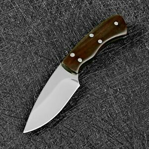 Mini Drop Point Knife Fixed Blade Hunting Tactical Combat Survival Wood Handle S