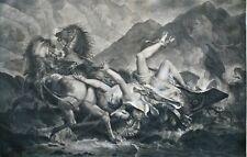 GRAVURE-CARLE VERNET-LA MORT D HYPPOLITE-DARCIS-GODEFROY-MYTHOLOGIE-CHEVAUX-CHAR