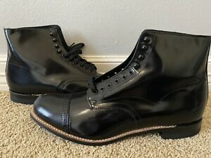 New STACY ADAMS Men's Madison Patent Black Lace Cap Toe Leather Boots Sz 11 $135