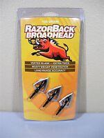 3 Pack of Razorback Vented 2 Blade 125grain Screw in Fixed Blade Broadheads