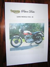 TRIUMPH PISTON DATA SHEETS (EARLY MODELS 1933 - 58) HEPOLITE