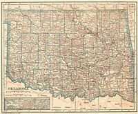 1925 Antique OKLAHOMA Map Vintage State Map of Oklahoma Gallery Wall Art 7132