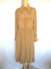 TED LAPIDUS Boutique Haute Couture Size 10 Camel Brown Silk Check w/Box Pleats