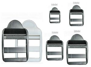 PLASTIC LADDER LOCK BUCKLES, BLACK/WHITE FOR 16 TO 38MM STRAP WEBBING, REF: PLL