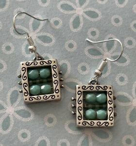 Brighton BEADAZZLED Bedazzled Turquoise Blue Beads Silver Custom Earrings